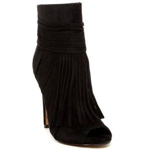 Black fringe heel peep toe booties